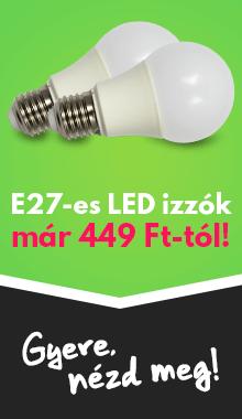 E27-es LED izzók már 449 Ft-tól