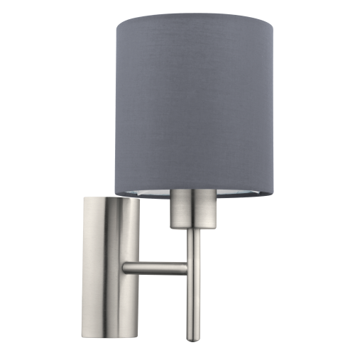 LED lámpatest , fali , E27-es foglalatú , textil , szürke , EGLO , PASTERI , 94926