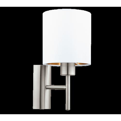 LED lámpatest , fali , E27-es foglalatú , textil , fehér , vörösréz , EGLO , PASTERI , 95053