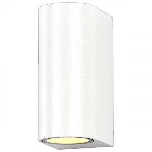 LED lámpatest , 2 x GU10 , oldalfali , kerek , 2 irányú , fehér , kültéri , IP44