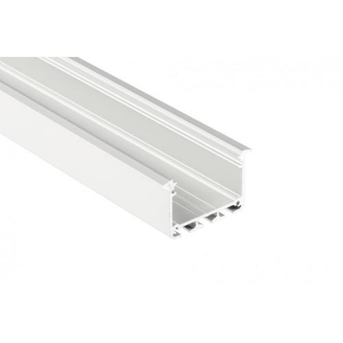 Alumínium profil LED szalaghoz , 2 méter/db ,  süllyeszthető , ezüst eloxált , széles , INSO , UV-védett MATT fedővel