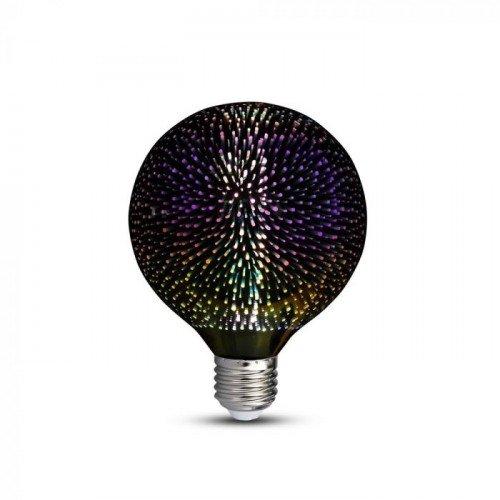 LED lámpa , égő , izzószálas hatás , filament , gömb , E27 foglalat , G125 , 3 Watt , meleg fehér , tűzijáték