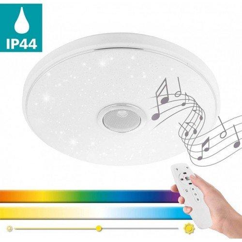 LED panel , 18W , falon kívüli , Bluetooth hangszóróval , kristály hatású , RGB , CCT , dimmelhető , IP44 , EGLO , MILAZZO , 33703