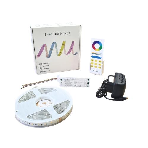 Szett , 5 m RGB-CCT led szalag , vezérlővel , tápegységgel , távirányítóval , Mi-light kompatibilis , SMART , IP65